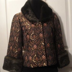 Nine West Metallic Jacket Faux Fur sz 8